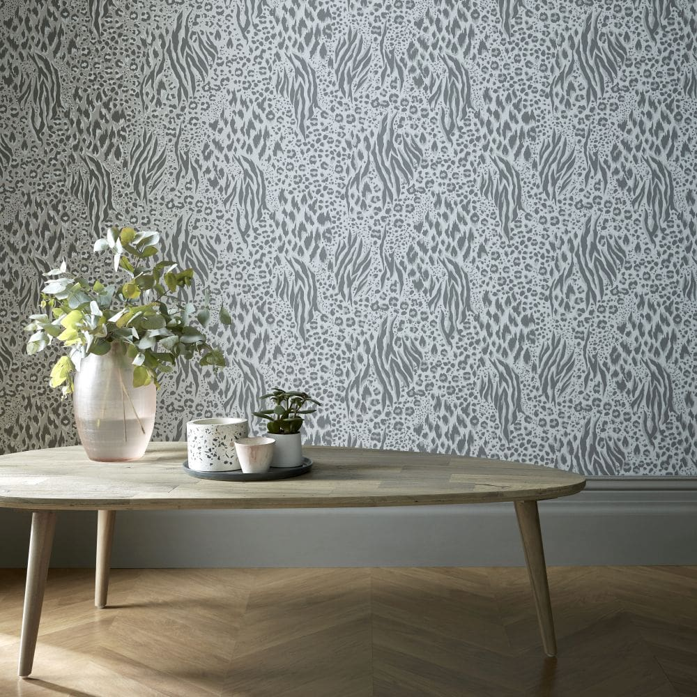 Savannah Wallpaper - Grey / Silver - by Accessorize