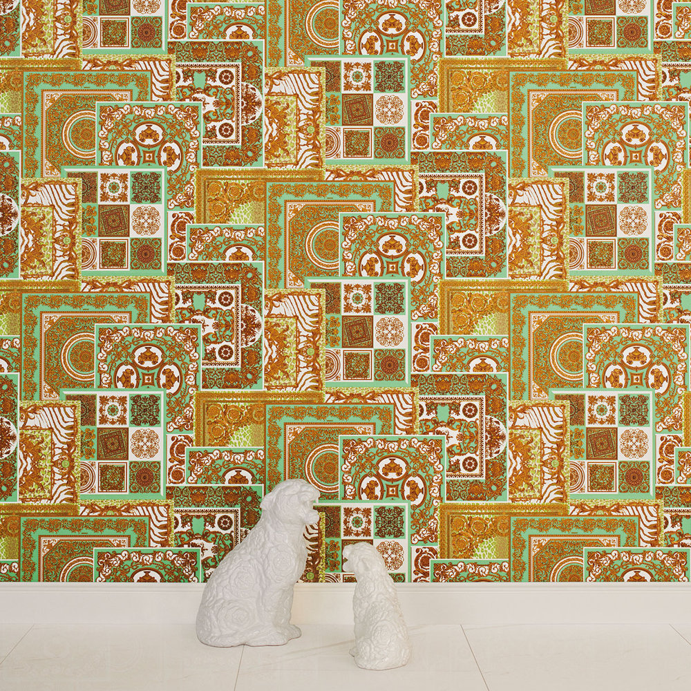 Versace Deconpage Spearmint Green and Gold Wallpaper - Product code: 37048-2