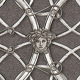Versace La Scala Del Palazzo Charcoal and Silver Wallpaper - Product code: 37049-5