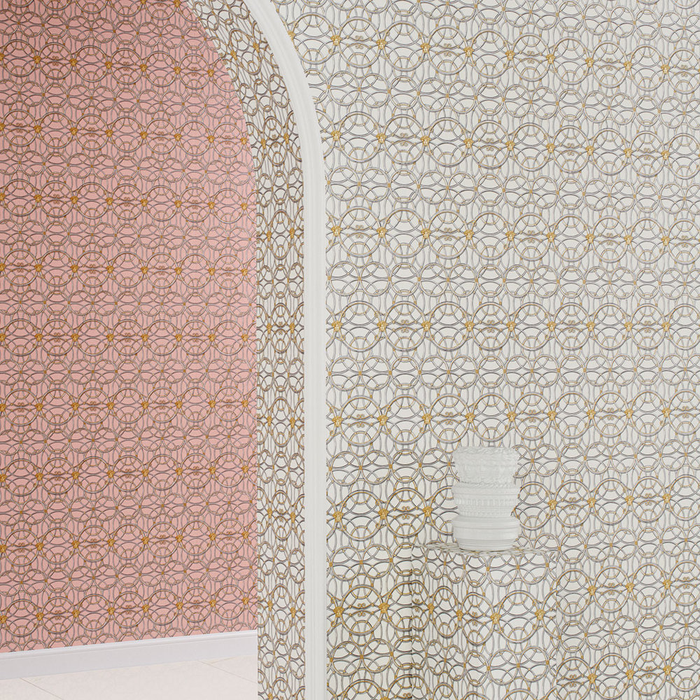 Versace La Scala Del Palazzo Pink Icing with Pewter and Gold Wallpaper - Product code: 37049-6