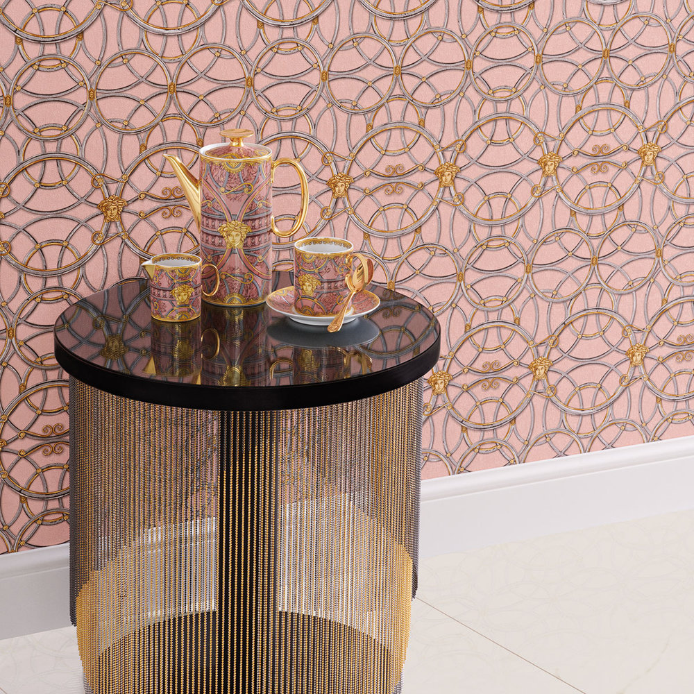 La Scala Del Palazzo Wallpaper - Pink Icing with Pewter and Gold - by Versace