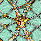 Versace La Scala Del Palazzo Turquoise with Pewter and Gold Wallpaper - Product code: 37049-7