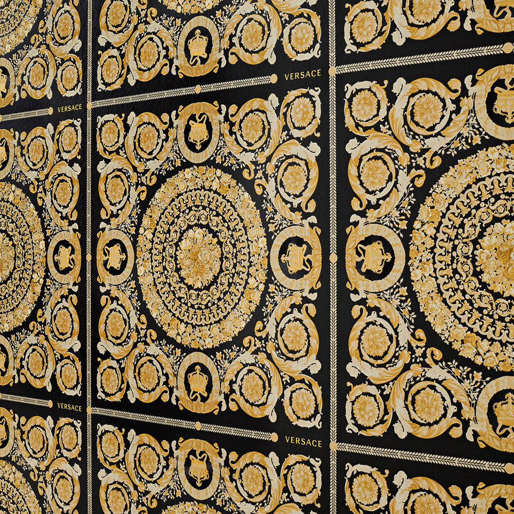 Heritage Wallpaper - Black with Gold - by Versace