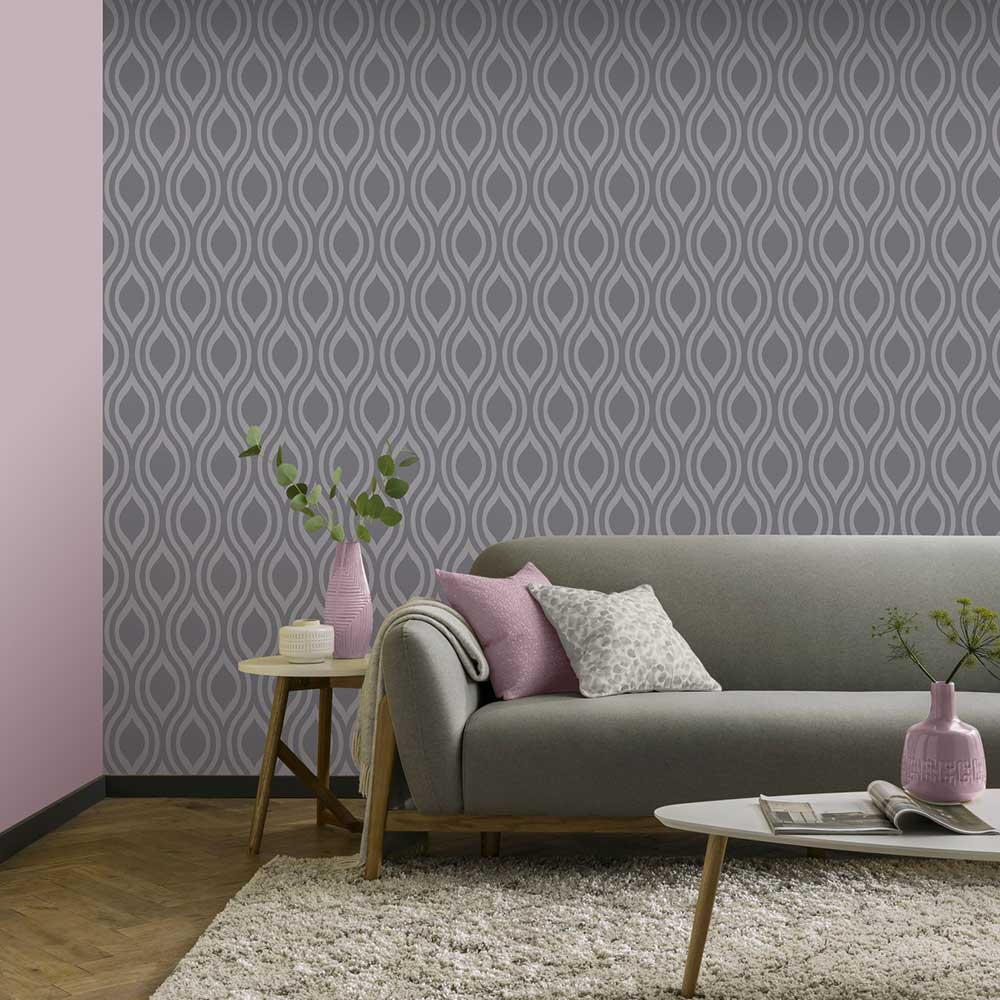 Luxe Ogee  Wallpaper - Gunmetal  - by Arthouse