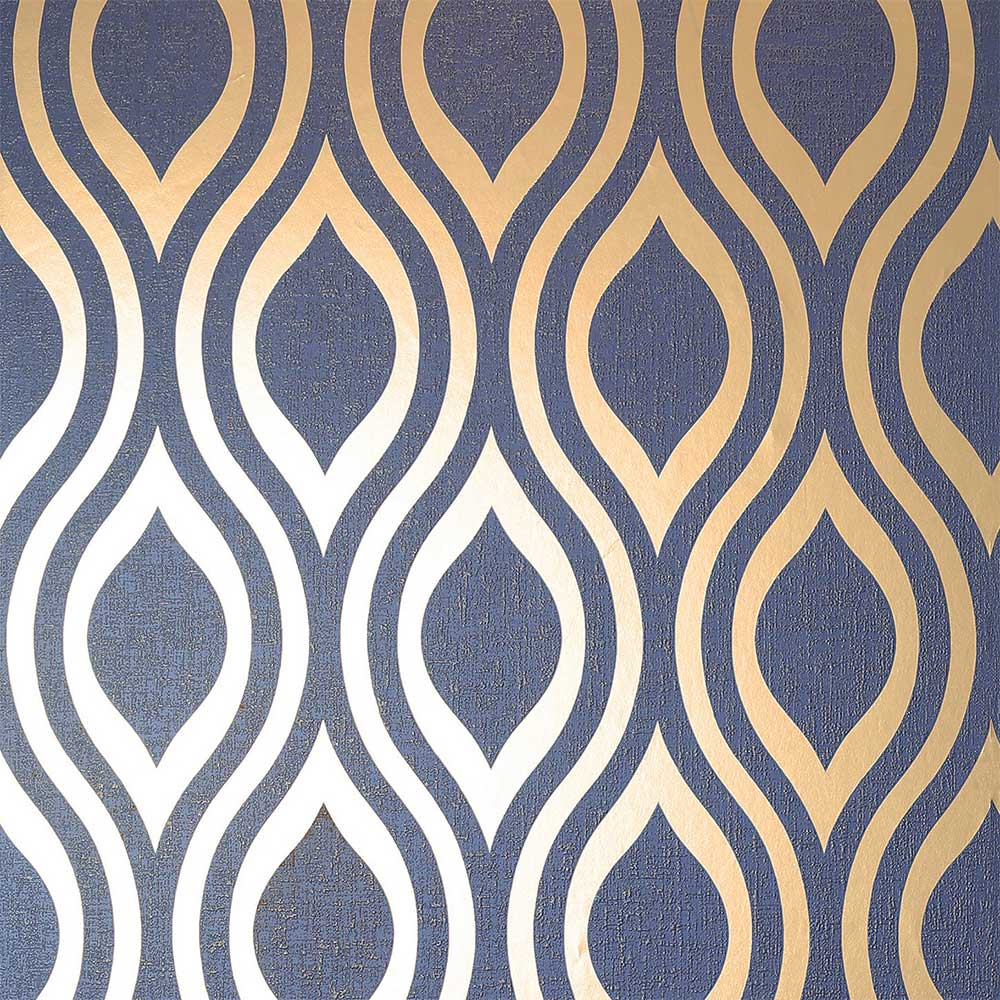 Luxe Ogee  Wallpaper - Navy - by Arthouse