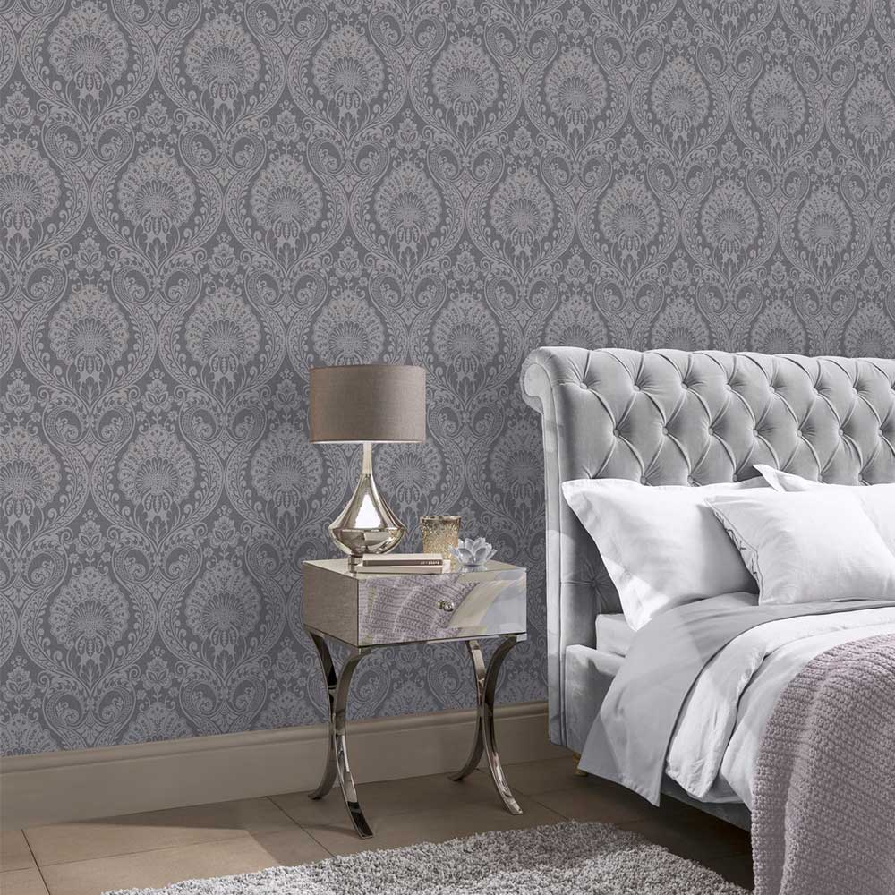 Luxe Damask Wallpaper - Gunmetal - by Arthouse