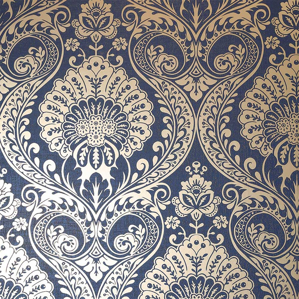 Luxe Damask Wallpaper - Navy - by Arthouse