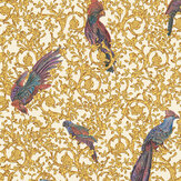 Versace Barocco Birds Gold and Red and Blue Wallpaper - Product code: 37053-2