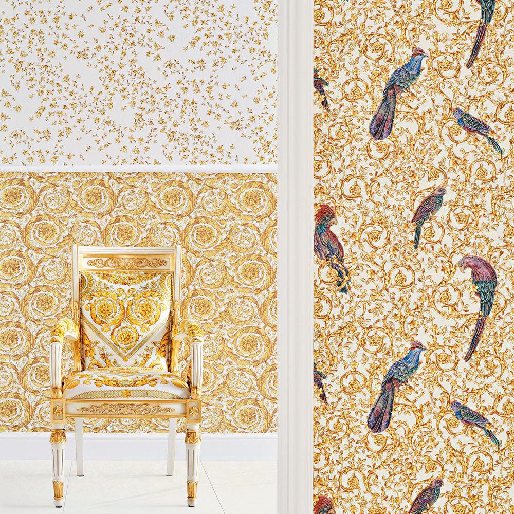 Barocco Birds Wallpaper - Gold - by Versace