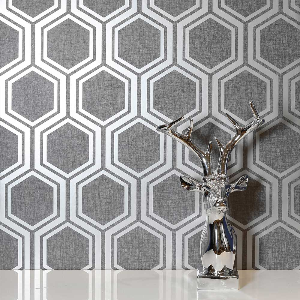 Luxe Hexagon Wallpaper - Gunmetal - by Arthouse