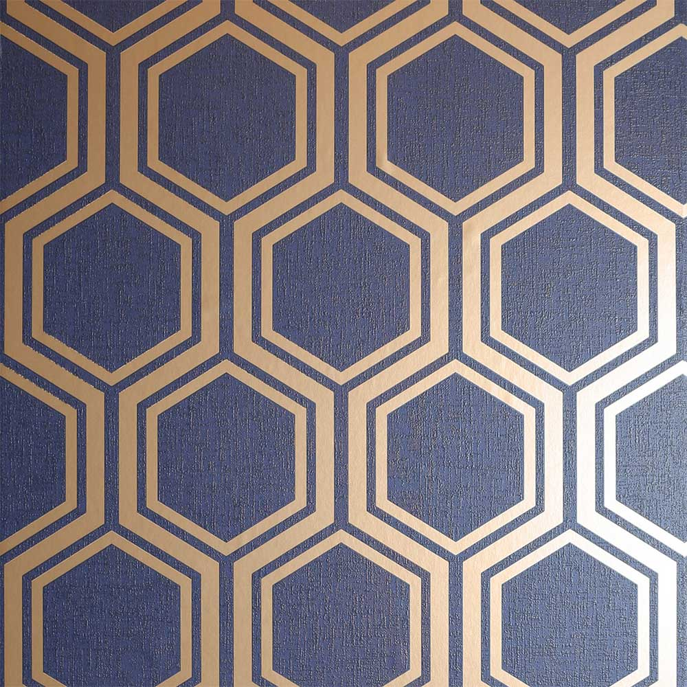 Luxe Hexagon Wallpaper - Navy - by Arthouse