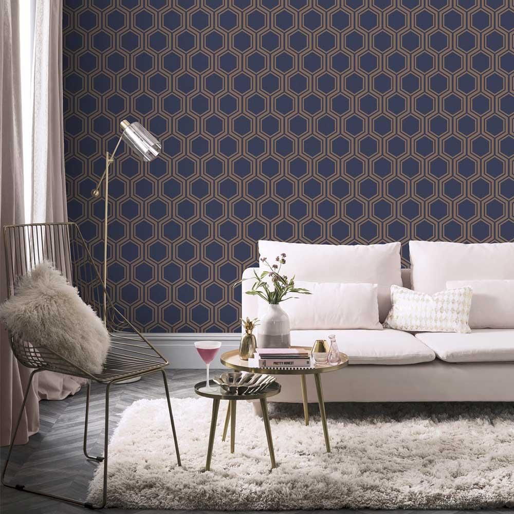Arthouse Luxe Hexagon Navy Wallpaper - Product code: 906604