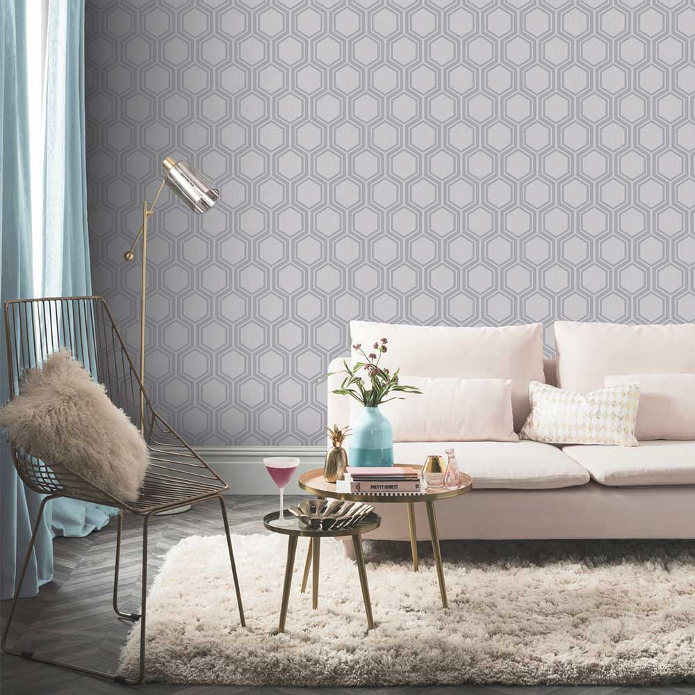 Luxe Hexagon Wallpaper - Silver - by Arthouse