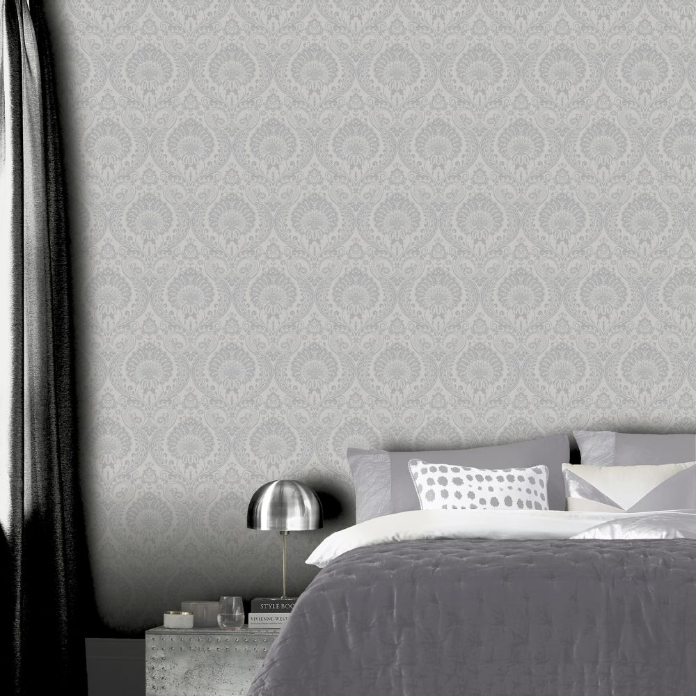 Luxe Damask Wallpaper - Silver - by Arthouse