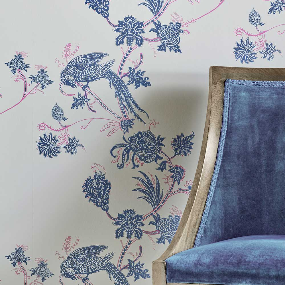 Vintage Bird Trail Wallpaper - Blue / Pink - by Barneby Gates