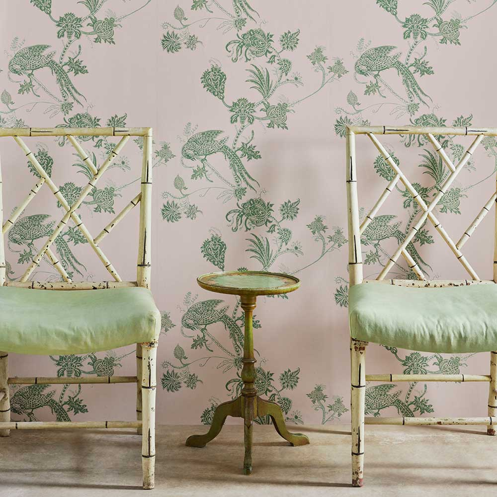Barneby Gates Vintage Bird Trail Pink / Green Wallpaper - Product code: BG2000102