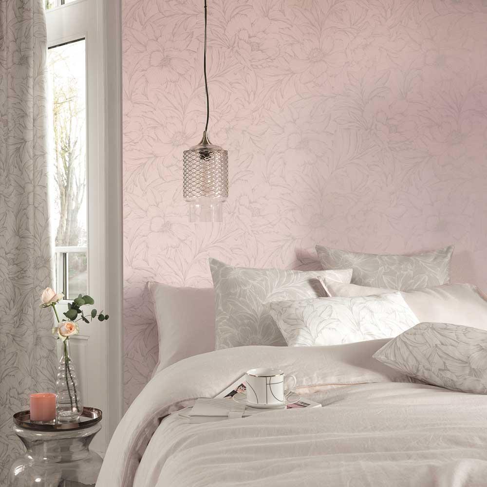 Monceau Wallpaper - Rose Pink - by Casadeco