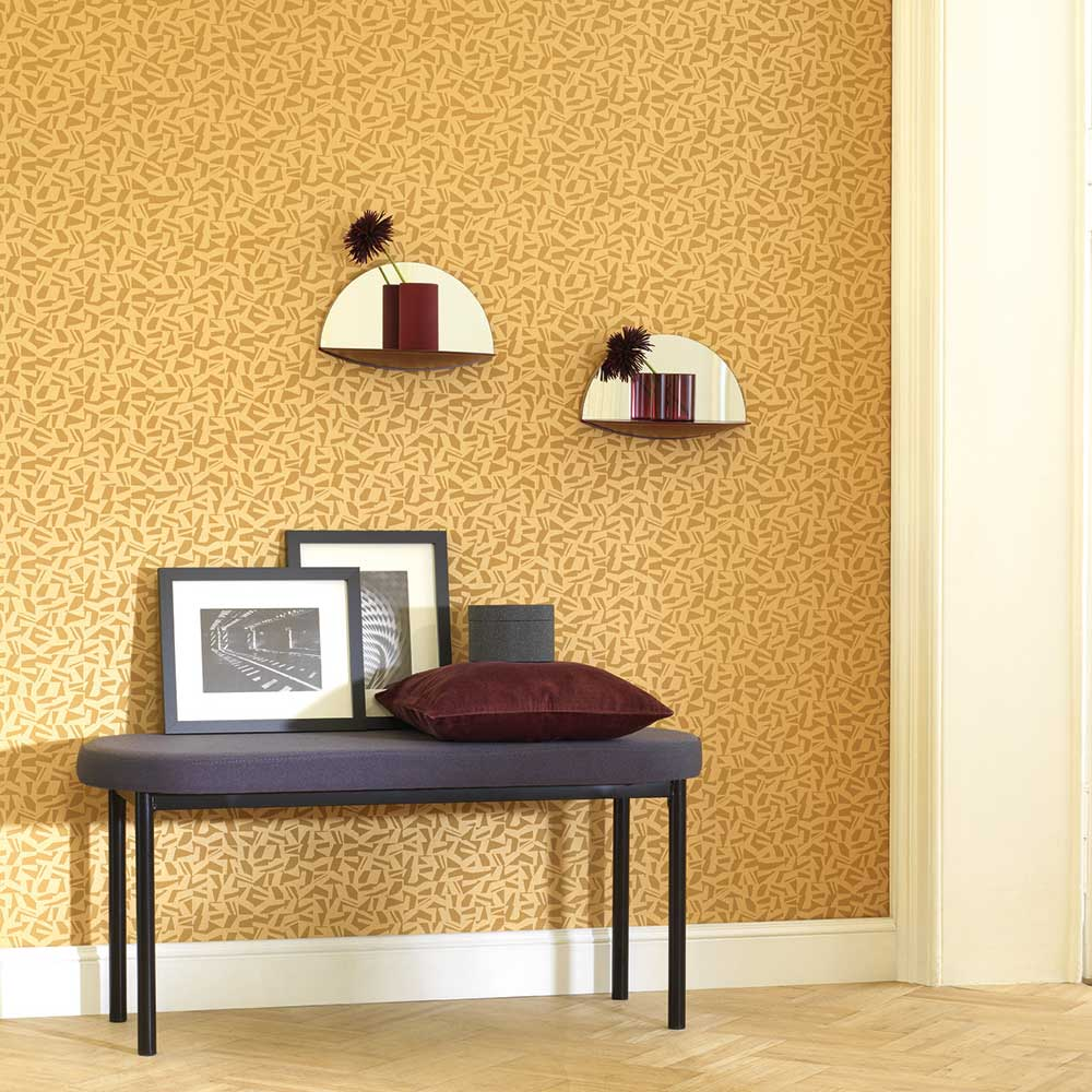 Polygone Wallpaper - Yellow - by Casadeco