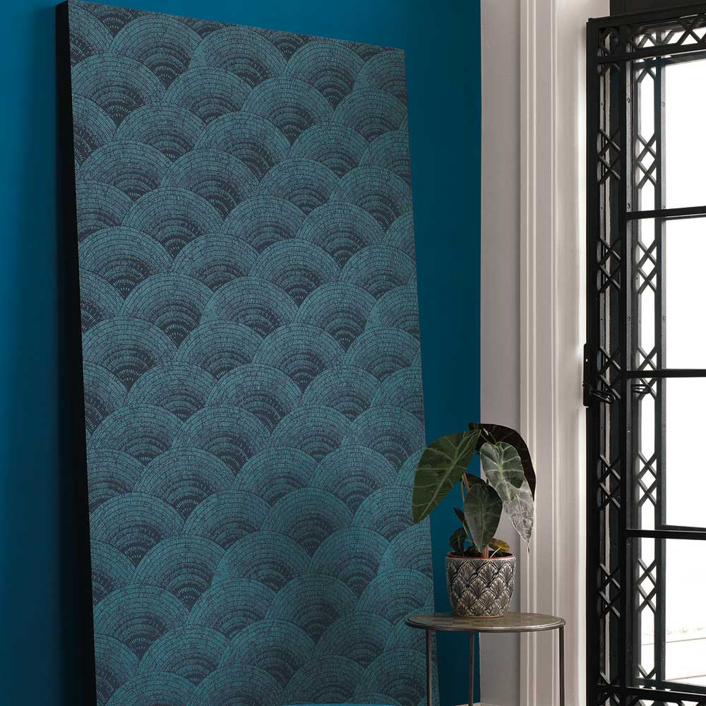 Walter Irise Wallpaper - Turquoise - by Casadeco