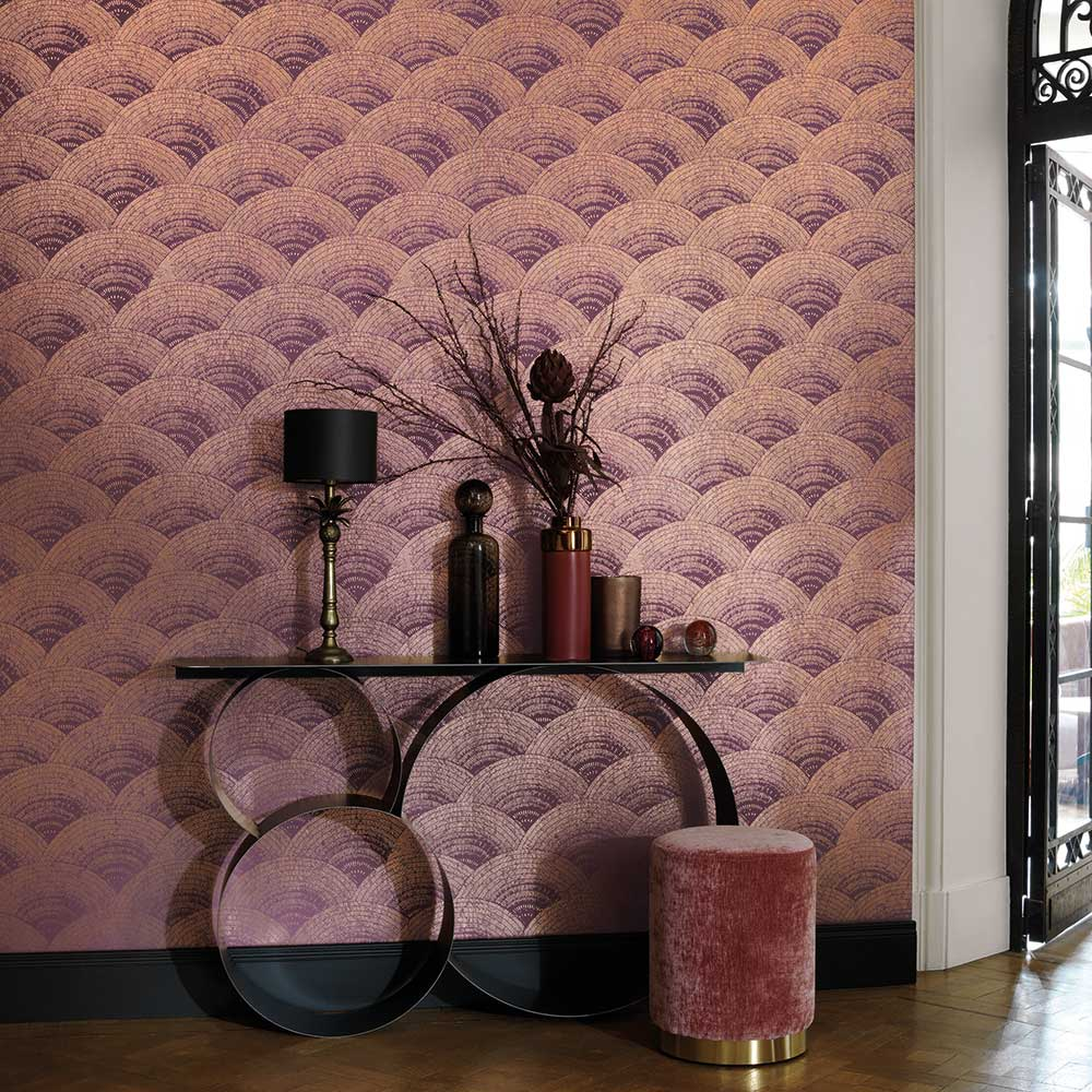 Casadeco Walter Foil Bordeaux / Rose Gold Wallpaper - Product code: 84094525