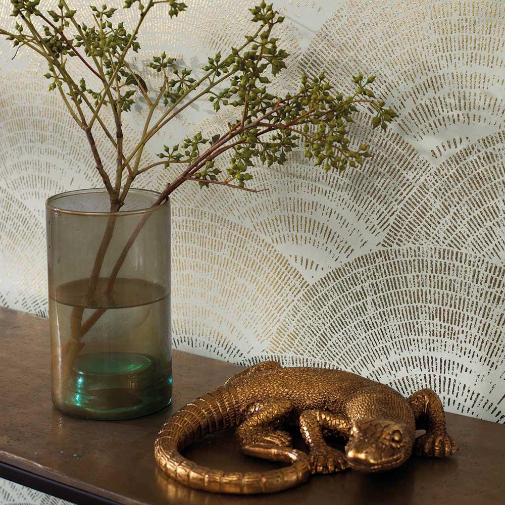 Walter Foil Wallpaper - Almond - by Casadeco