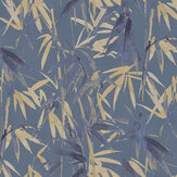 Brewers Bamboo Dark Blues w/ Copper  Wallpaper - Product code: 23705