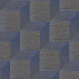 Brewers Geometric Blue w/ Copper Wallpaper - Product code: 23715