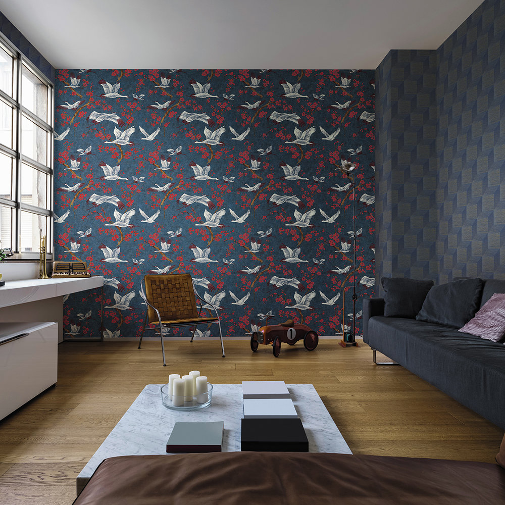 Crane & Blossom Wallpaper - Blue & Red - by Brewers
