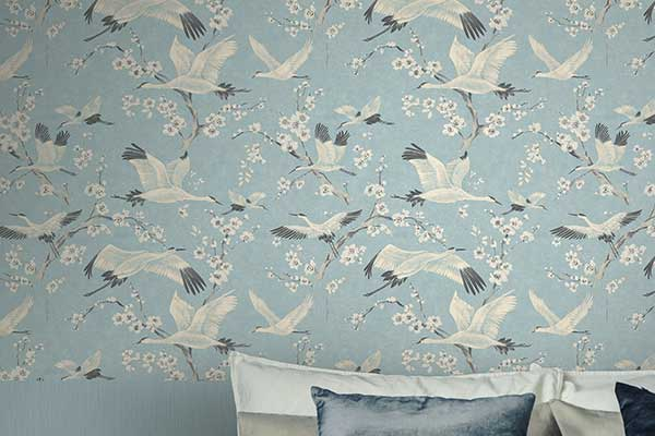 Brewers Crane & Blossom Pastel Blue and White Wallpaper - Product code: 33501