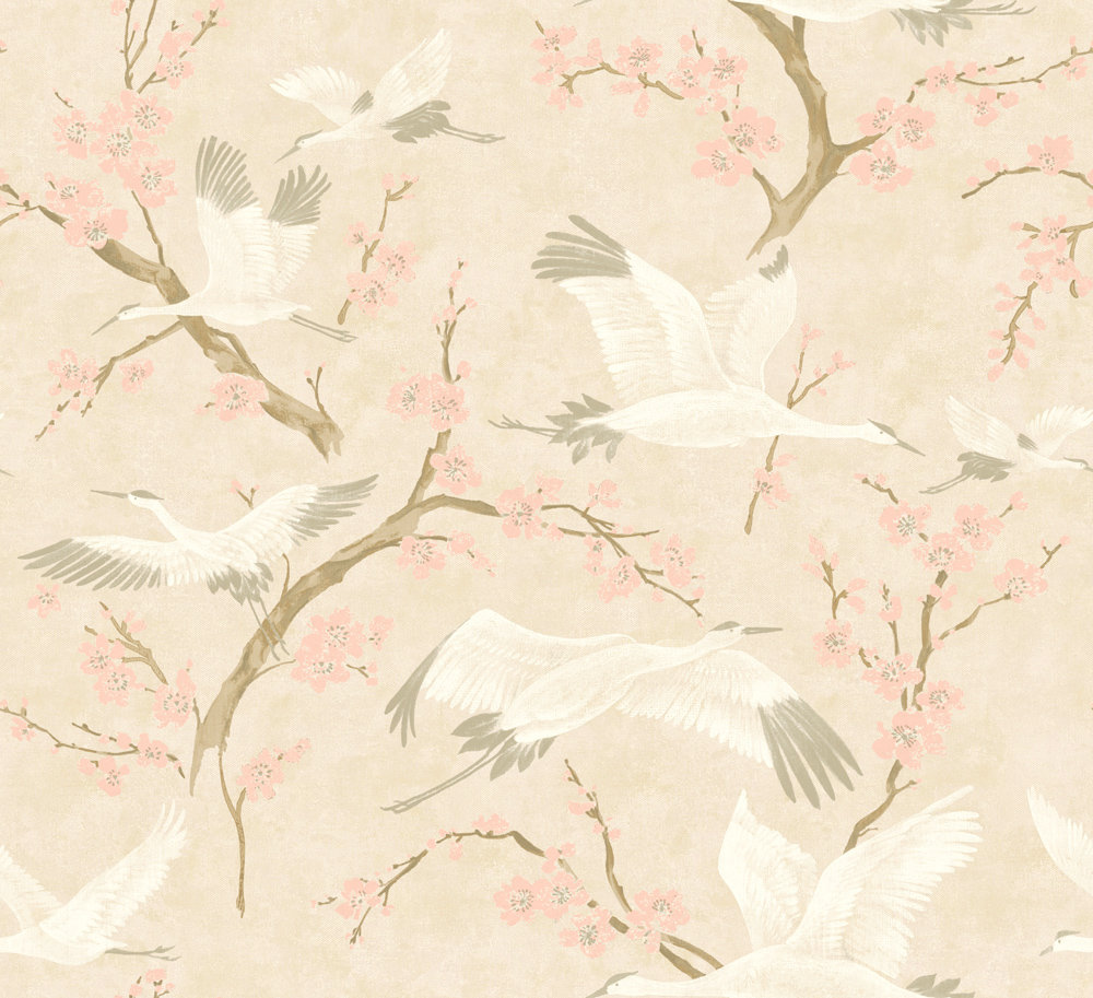 Brewers Crane & Blossom Blush Pink and White Wallpaper - Product code: 33503