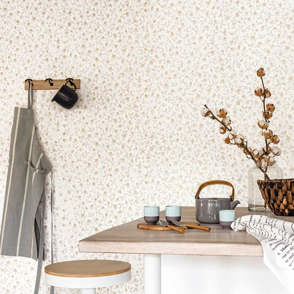 Serenity Wallpaper - Beige and Gold - by Caselio