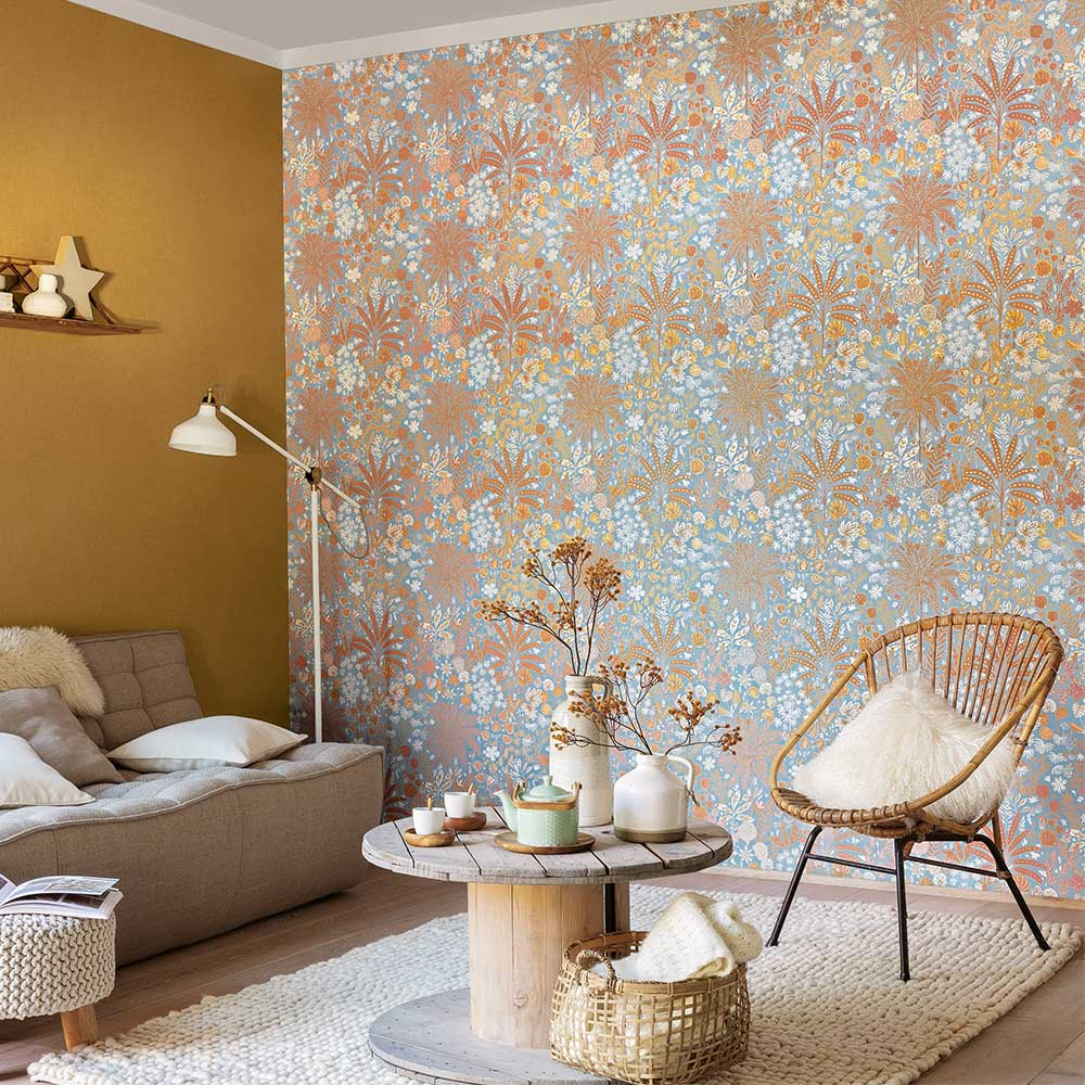 Hope Wallpaper - Blue, Ochre and Marsala - by Caselio