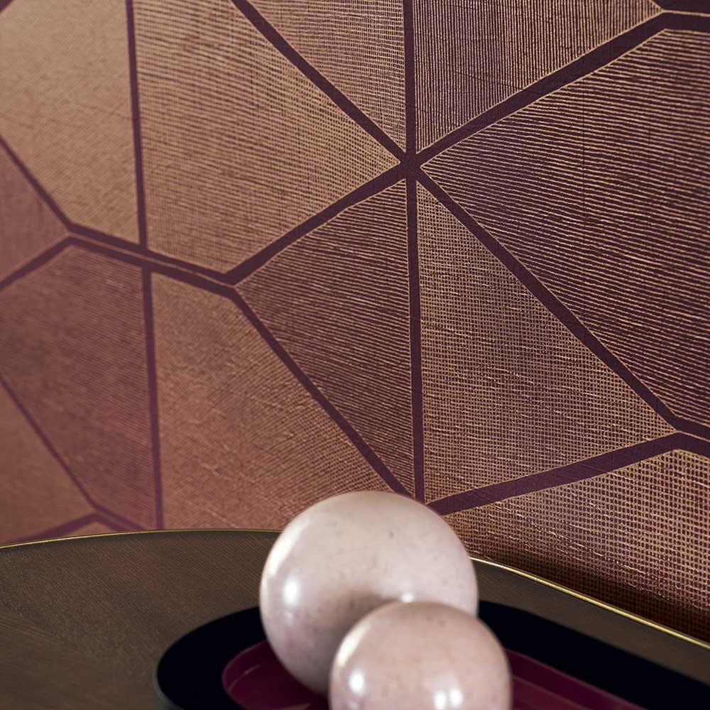 Stella Shine Wallpaper - Bordeaux - by Casadeco