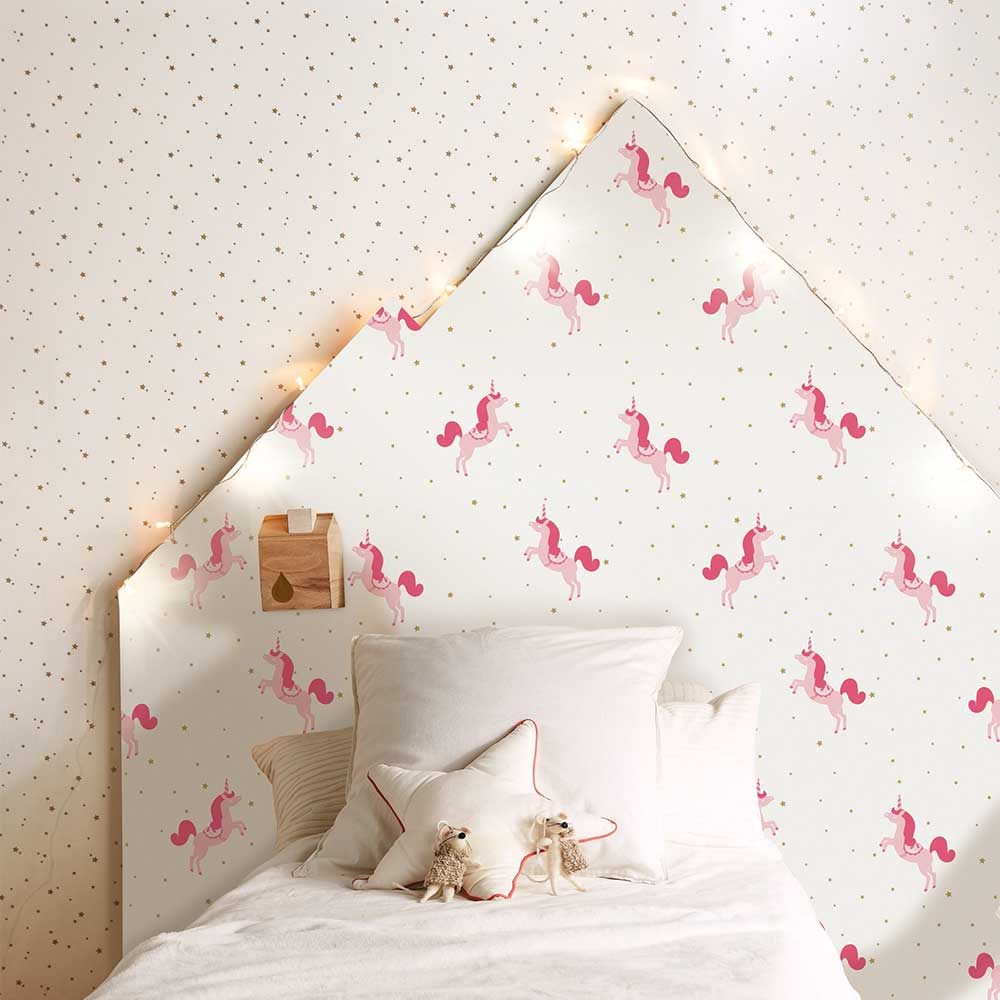 Caselio Princess Unicorns Pink and Gold Wallpaper - Product code: 100794101