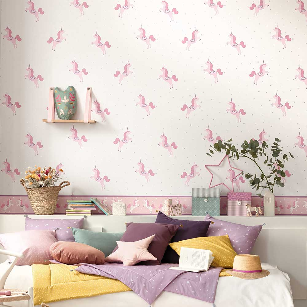 Caselio Princess Unicorns Pale Pink and Silver Wallpaper - Product code: 100795402