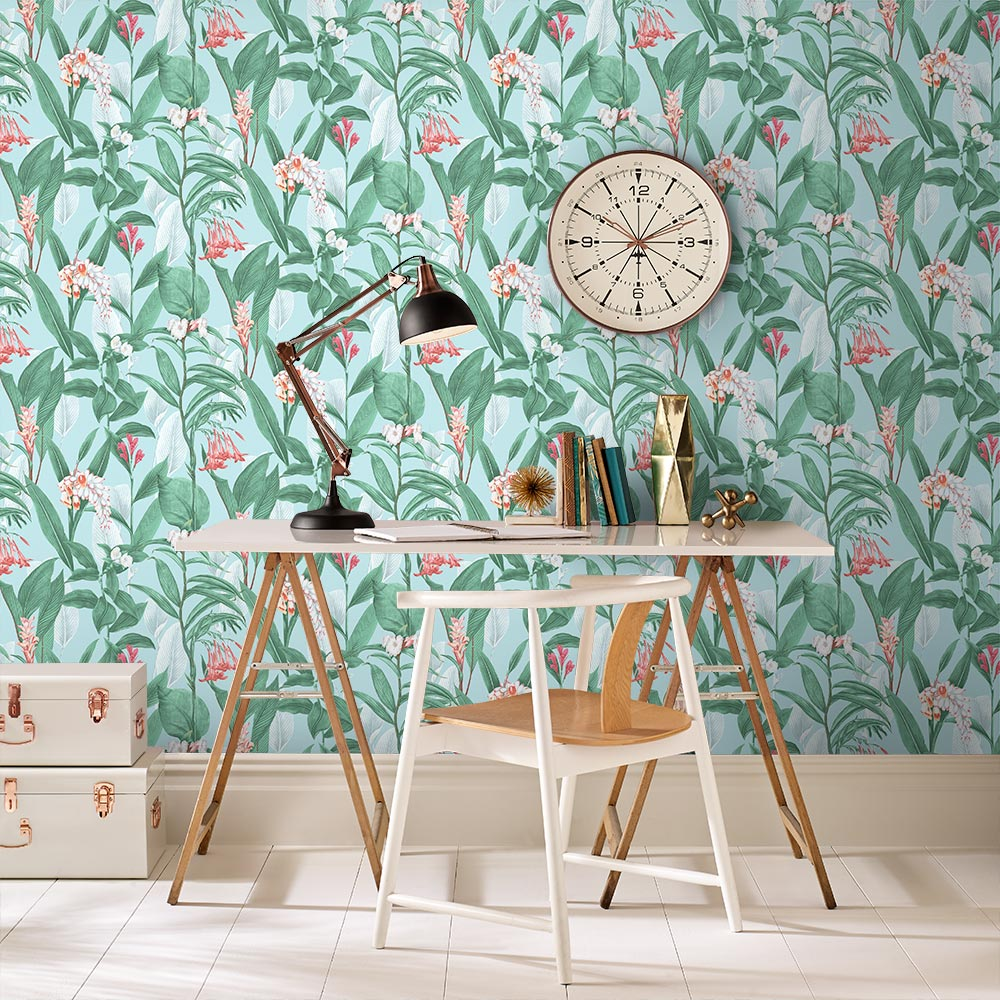 Botanical Wallpaper - Duck Egg - by Graham & Brown
