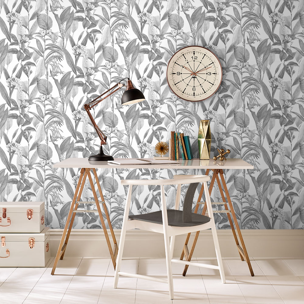 Botanical Wallpaper - Shadow - by Graham & Brown