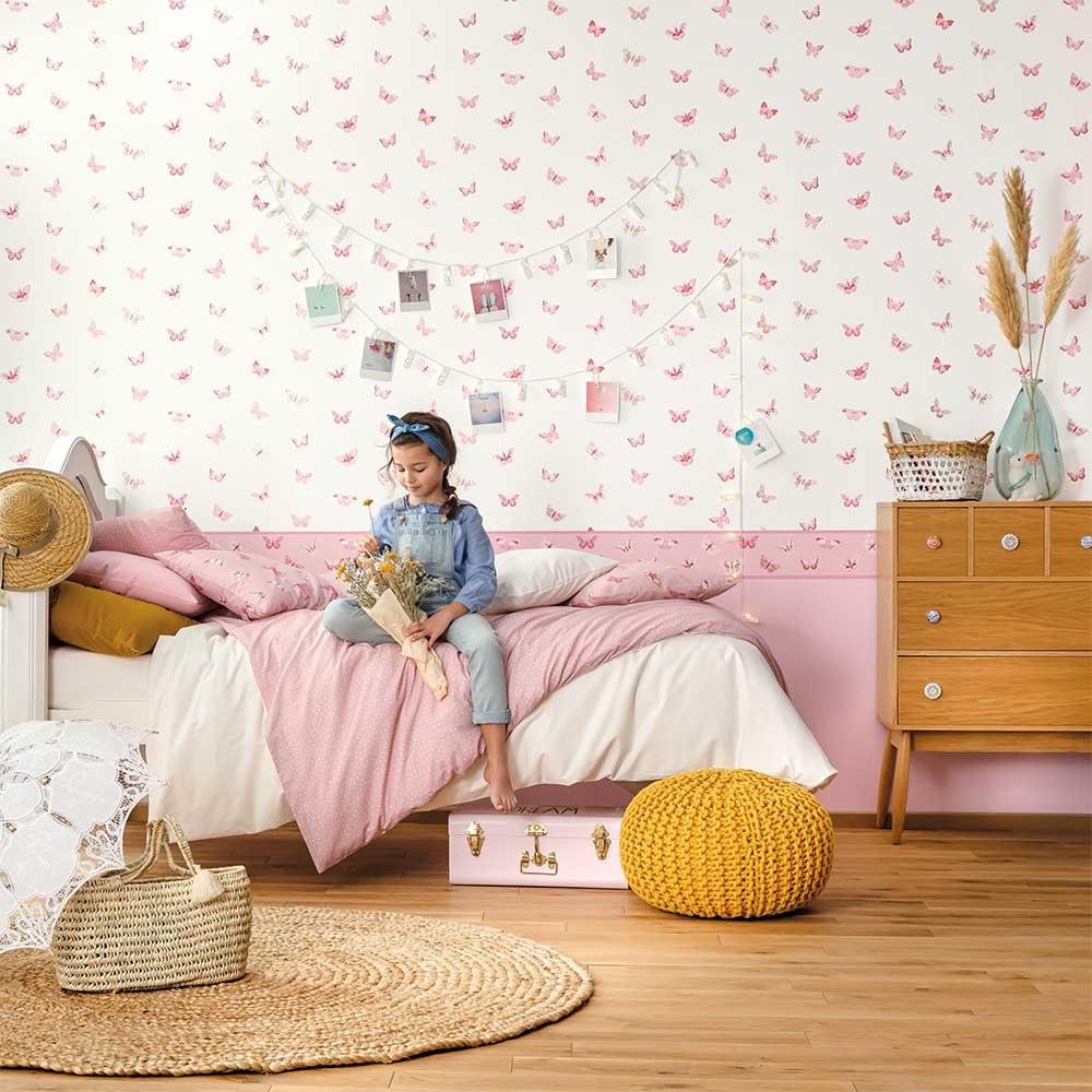 Caselio Let's Fly Pink and Gold Wallpaper - Product code: 100824535