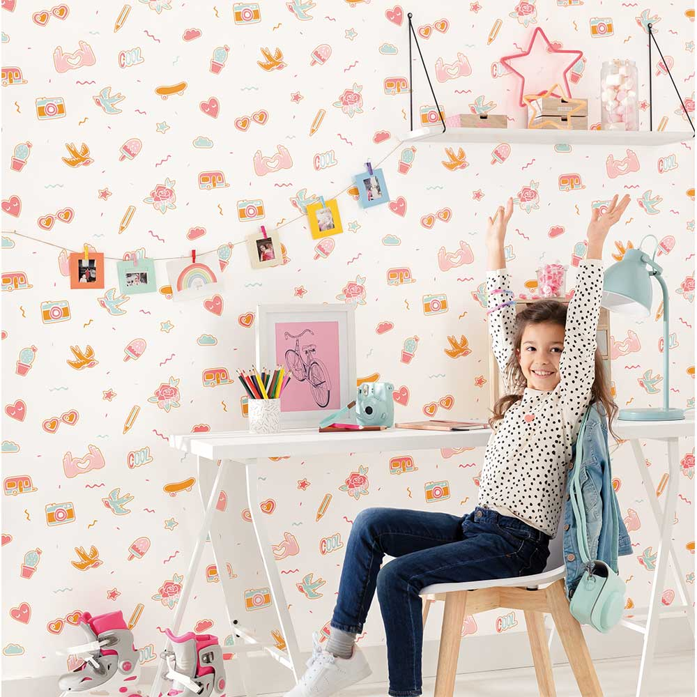 Pin's Me Wallpaper - Aqua, Pink and Orange - by Caselio