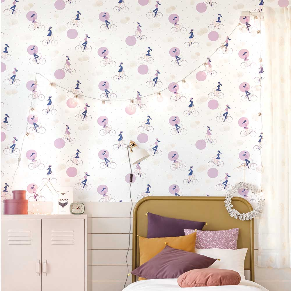 Caselio Lucy In The Sky Violet and Gold Wallpaper - Product code: 100845426