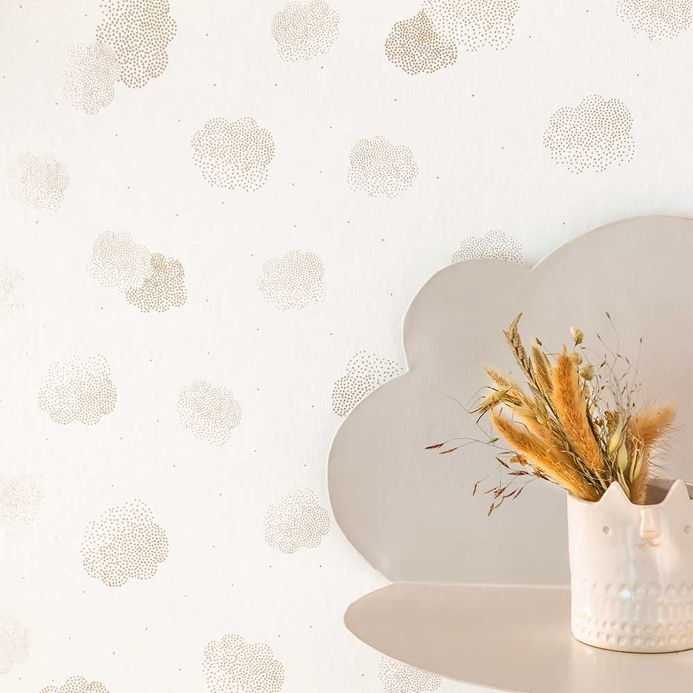 Caselio Lucy In The Sky Gold and White Wallpaper - Product code: 100852223