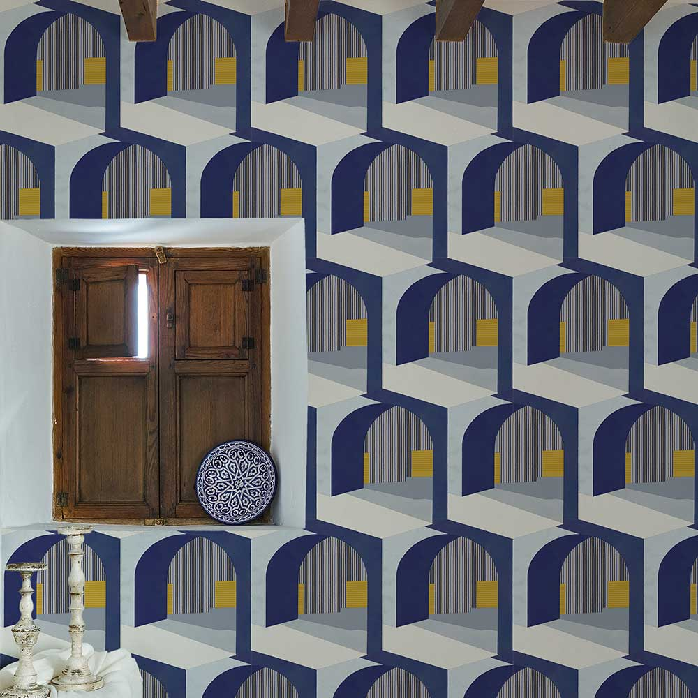 Soller Wallpaper - Indigo - by Coordonne
