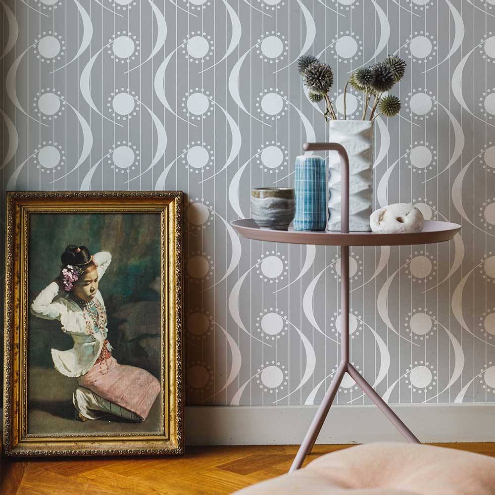 Layla Faye Dot Swish Pearl Grey Wallpaper - Product code: LF1068