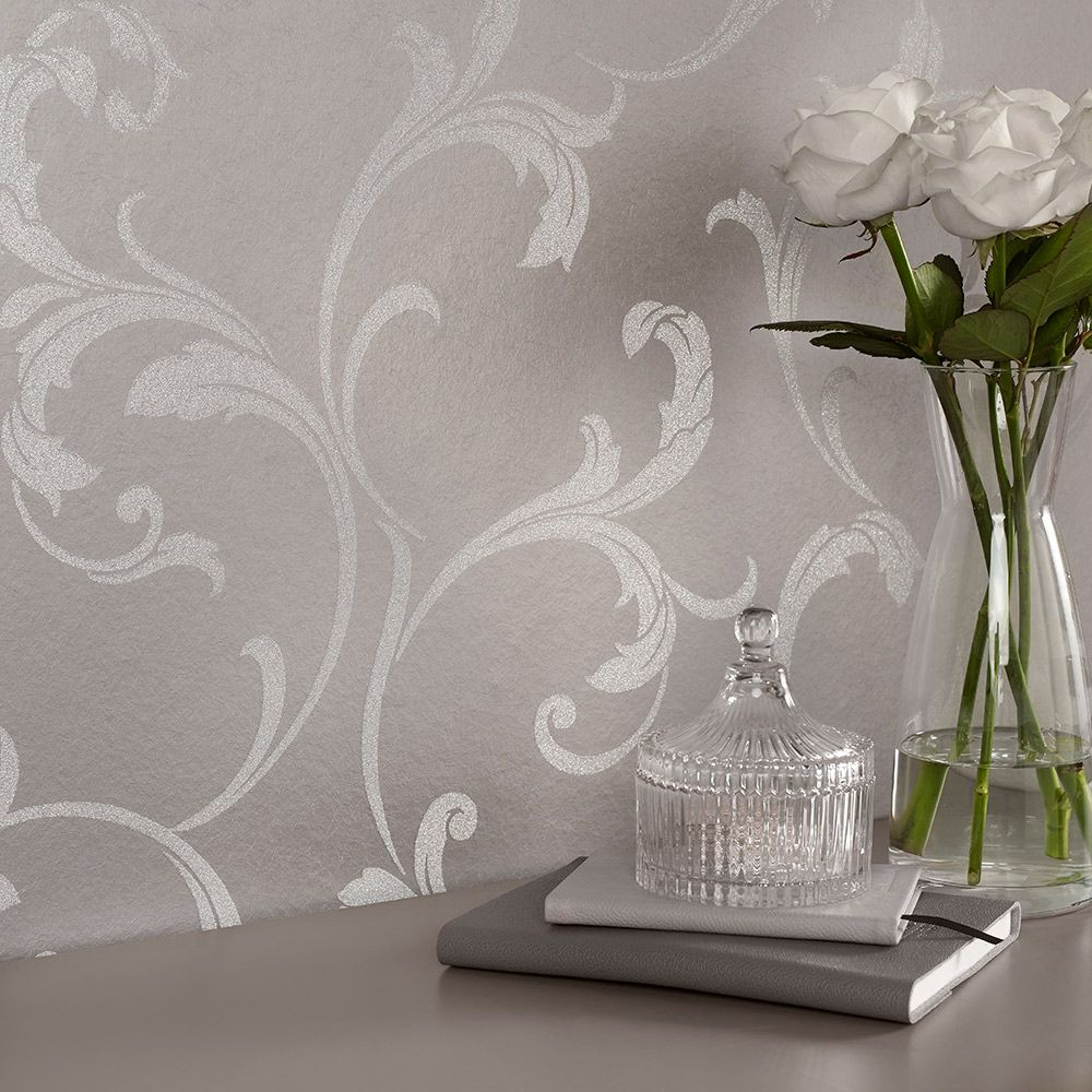 Graham & Brown Baroque Bead Platinum Wallpaper - Product code: 103817