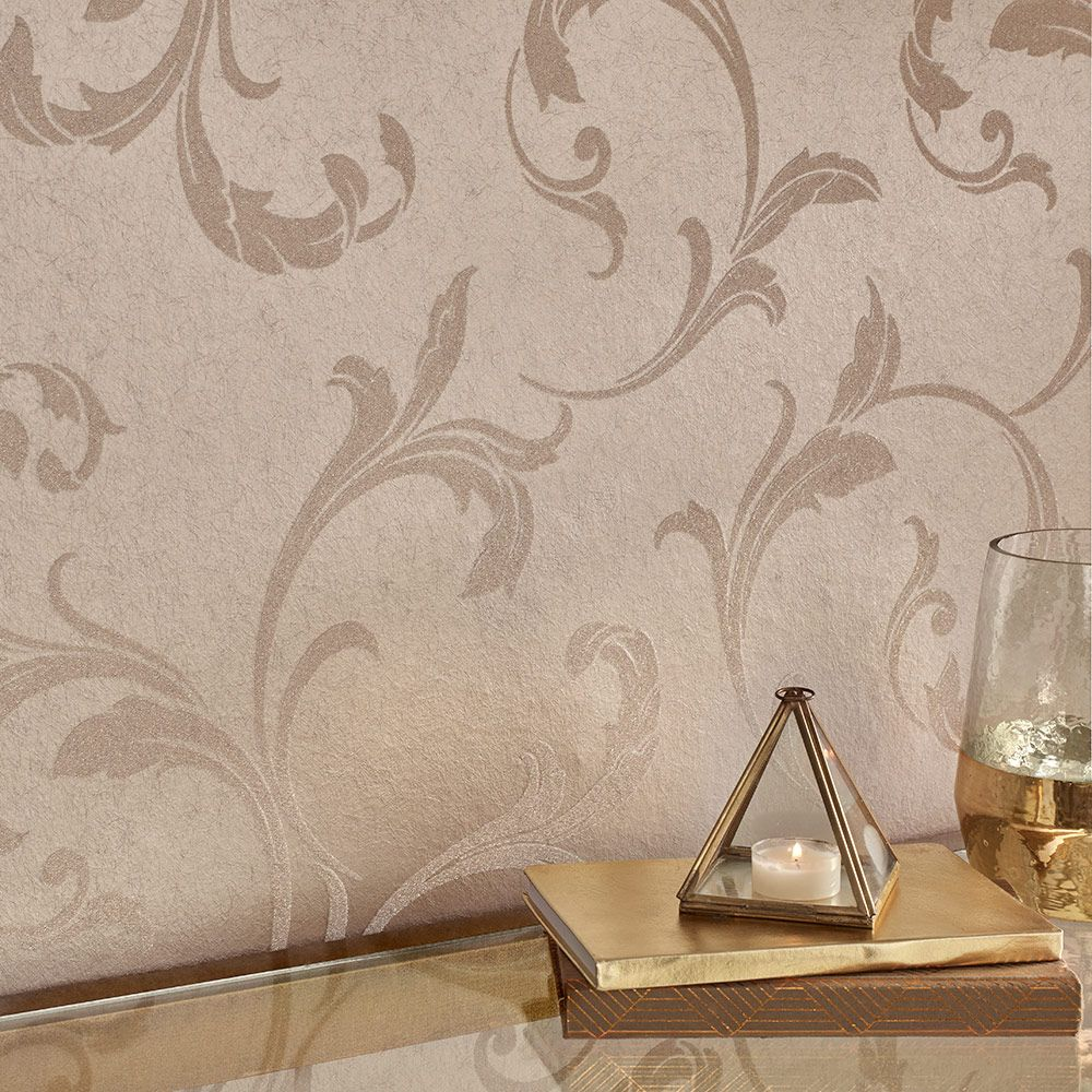 Baroque Bead Wallpaper - Champagne - by Graham & Brown