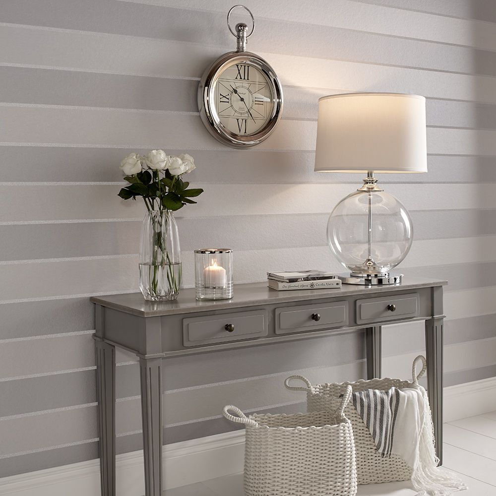 Graham & Brown Baroque Bead Stripe Platinum Wallpaper - Product code: 103820