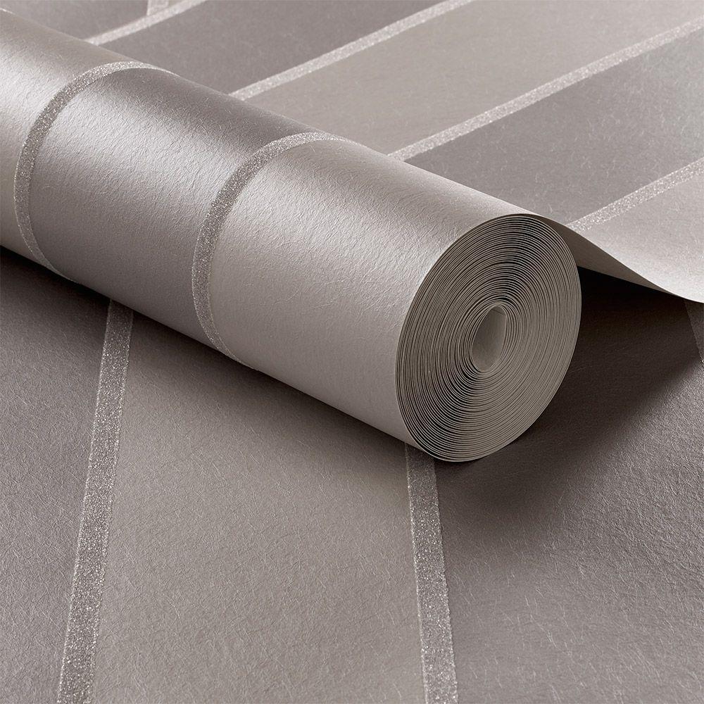 Baroque Bead Stripe Wallpaper - Platinum - by Graham & Brown