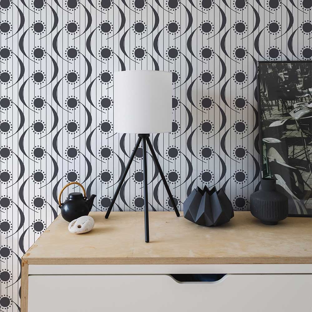 Layla Faye Dot Swish Monochrome Wallpaper - Product code: LF1069