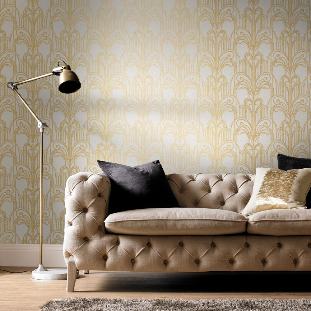 Graham & Brown Art Deco Gold / Pearl Wallpaper - Product code: 104296