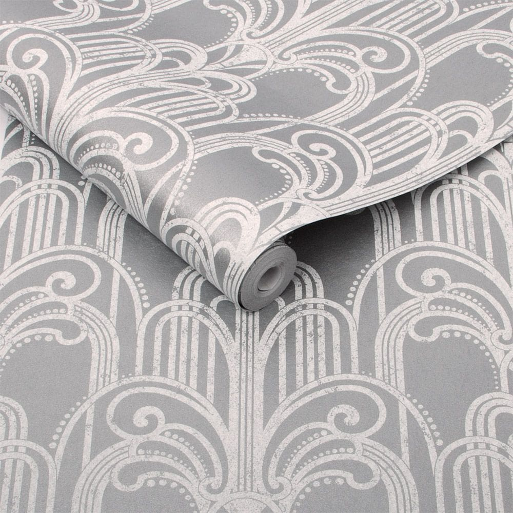Graham & Brown Art Deco Silver Wallpaper - Product code: 104297